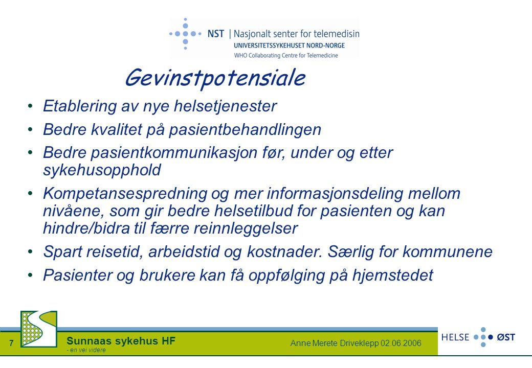 Anne Merete Driveklepp 02.06.20067 Sunnaas sykehus HF - en vei videre Gevinstpotensiale Etablering av nye helsetjenester Bedre kvalitet på pasientbeha
