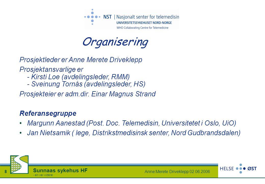 Anne Merete Driveklepp 02.06.20068 Sunnaas sykehus HF - en vei videre Organisering Prosjektleder er Anne Merete Driveklepp Prosjektansvarlige er - Kir