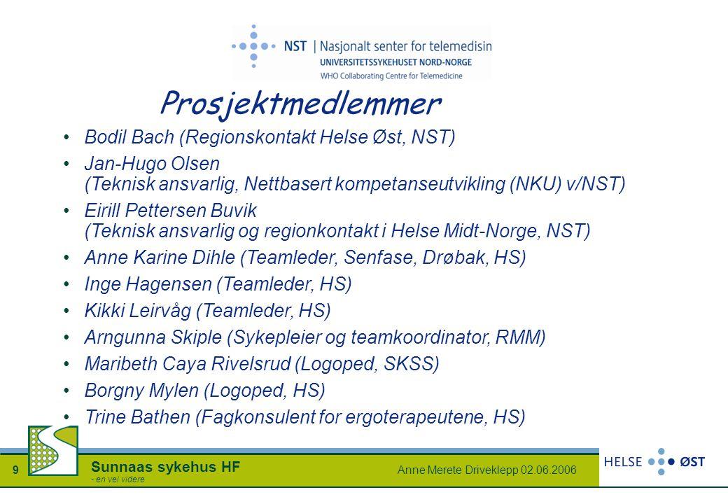 Anne Merete Driveklepp 02.06.20069 Sunnaas sykehus HF - en vei videre Prosjektmedlemmer Bodil Bach (Regionskontakt Helse Øst, NST) Jan-Hugo Olsen (Tek