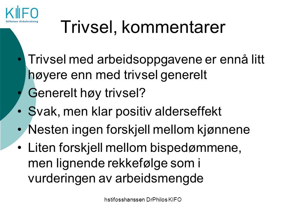 hstifosshanssen DrPhilos KIFO Trivsel, kommentarer Trivsel med arbeidsoppgavene er ennå litt høyere enn med trivsel generelt Generelt høy trivsel? Sva