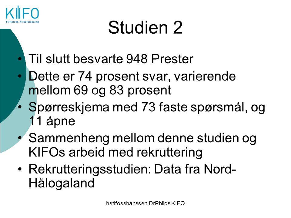 hstifosshanssen DrPhilos KIFO Studien 2 Til slutt besvarte 948 Prester Dette er 74 prosent svar, varierende mellom 69 og 83 prosent Spørreskjema med 7