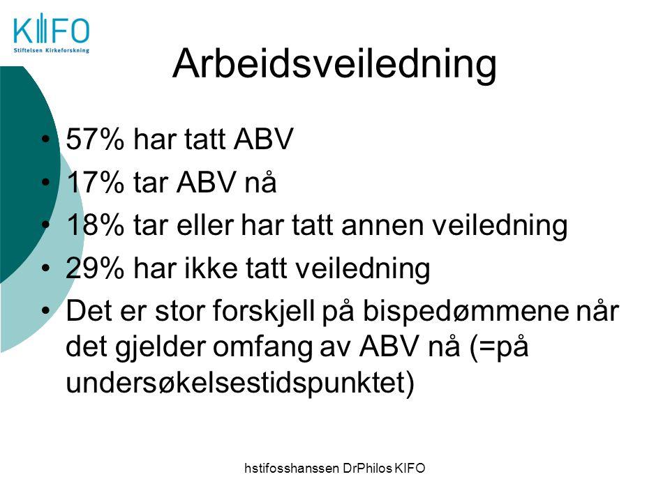 hstifosshanssen DrPhilos KIFO Arbeidsveiledning 57% har tatt ABV 17% tar ABV nå 18% tar eller har tatt annen veiledning 29% har ikke tatt veiledning D