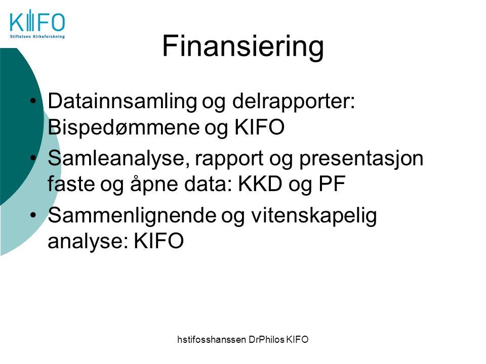hstifosshanssen DrPhilos KIFO Finansiering Datainnsamling og delrapporter: Bispedømmene og KIFO Samleanalyse, rapport og presentasjon faste og åpne da