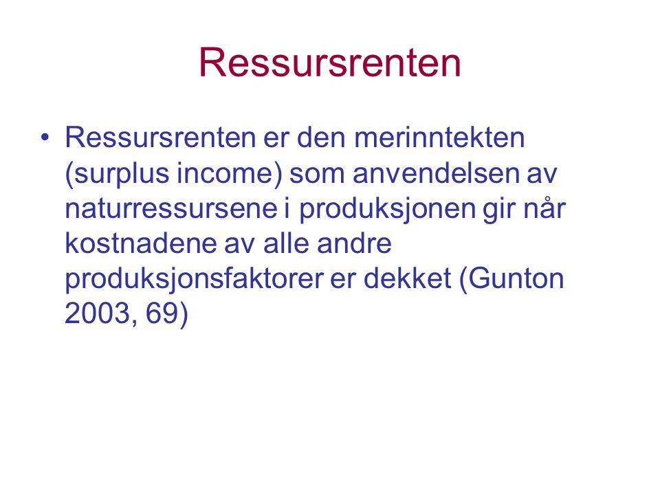 Ressursrenten Ressursrenten er den merinntekten (surplus income) som anvendelsen av naturressursene i produksjonen gir når kostnadene av alle andre produksjonsfaktorer er dekket (Gunton 2003, 69)