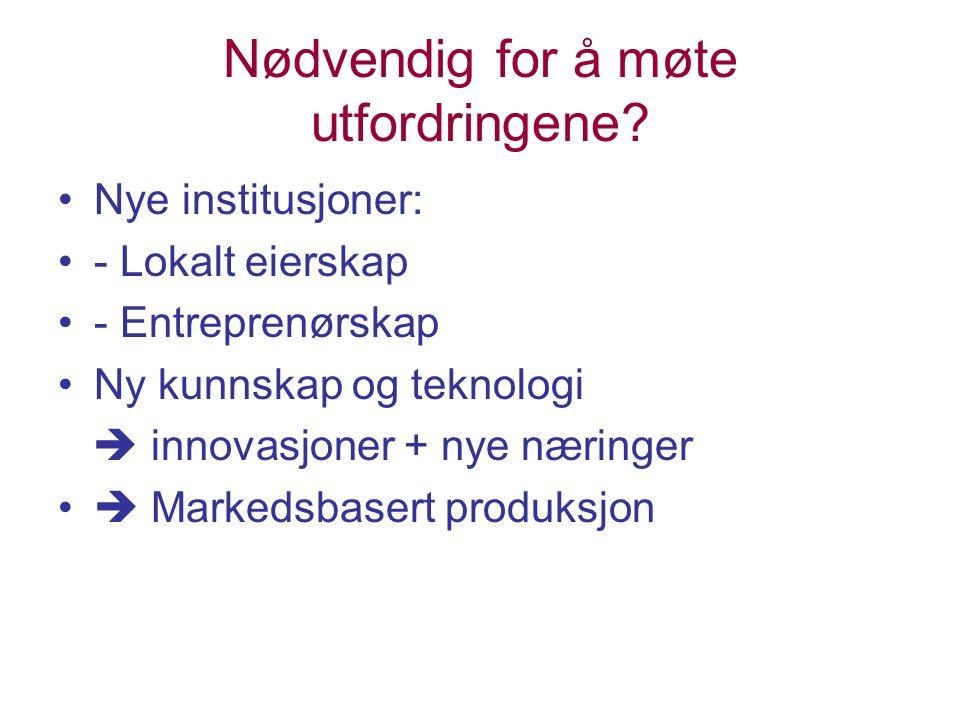 Nødvendig for å møte utfordringene? Nye institusjoner: - Lokalt eierskap - Entreprenørskap Ny kunnskap og teknologi  innovasjoner + nye næringer  Ma
