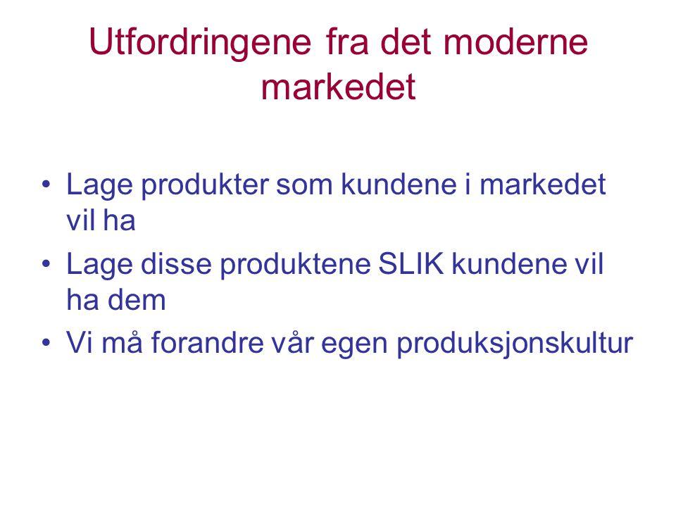 Utfordringene fra det moderne markedet Lage produkter som kundene i markedet vil ha Lage disse produktene SLIK kundene vil ha dem Vi må forandre vår egen produksjonskultur