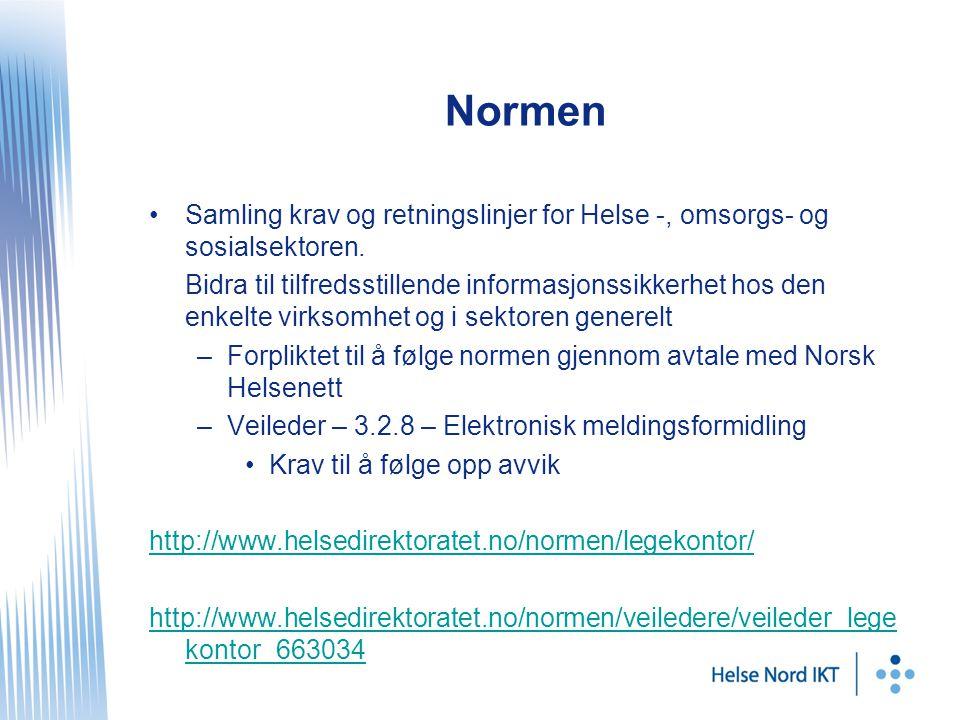 Normen Samling krav og retningslinjer for Helse -, omsorgs- og sosialsektoren.