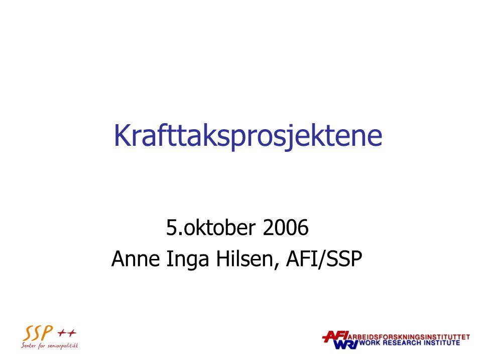 Krafttaksprosjektene 5.oktober 2006 Anne Inga Hilsen, AFI/SSP