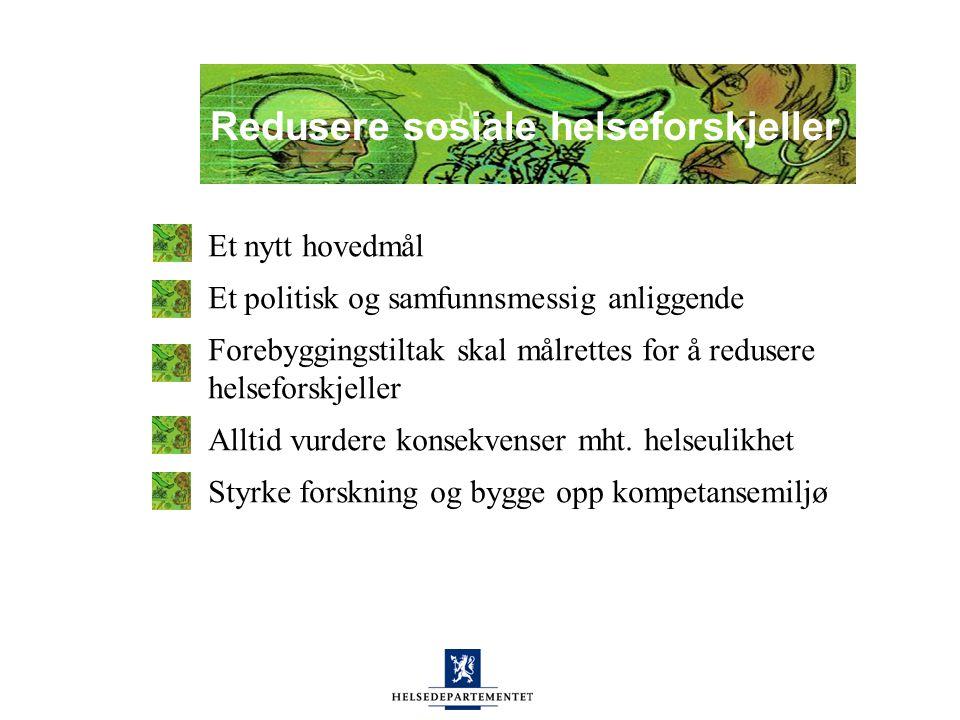Helseulikheter i Norge Store ulikheter i livsstil: overvekt, kosthold, røyking og fysisk aktivitet Store forskjeller mht: levealder, sykdomshyppighet og egenvurdert helse Ny forskning antyder økende helseulikheter
