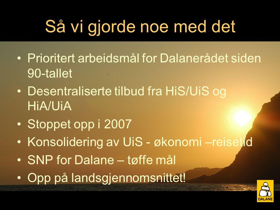Så vi gjorde noe med det Prioritert arbeidsmål for Dalanerådet siden 90-tallet Desentraliserte tilbud fra HiS/UiS og HiA/UiA Stoppet opp i 2007 Konsolidering av UiS - økonomi –reisetid SNP for Dalane – tøffe mål Opp på landsgjennomsnittet!