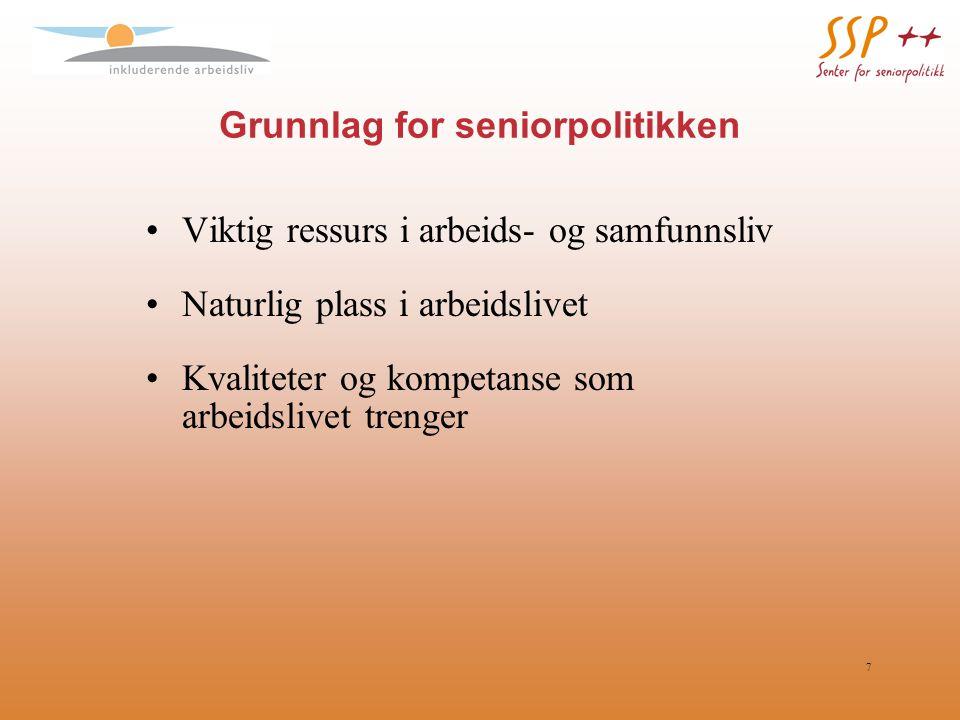 7 Grunnlag for seniorpolitikken Viktig ressurs i arbeids- og samfunnsliv Naturlig plass i arbeidslivet Kvaliteter og kompetanse som arbeidslivet treng