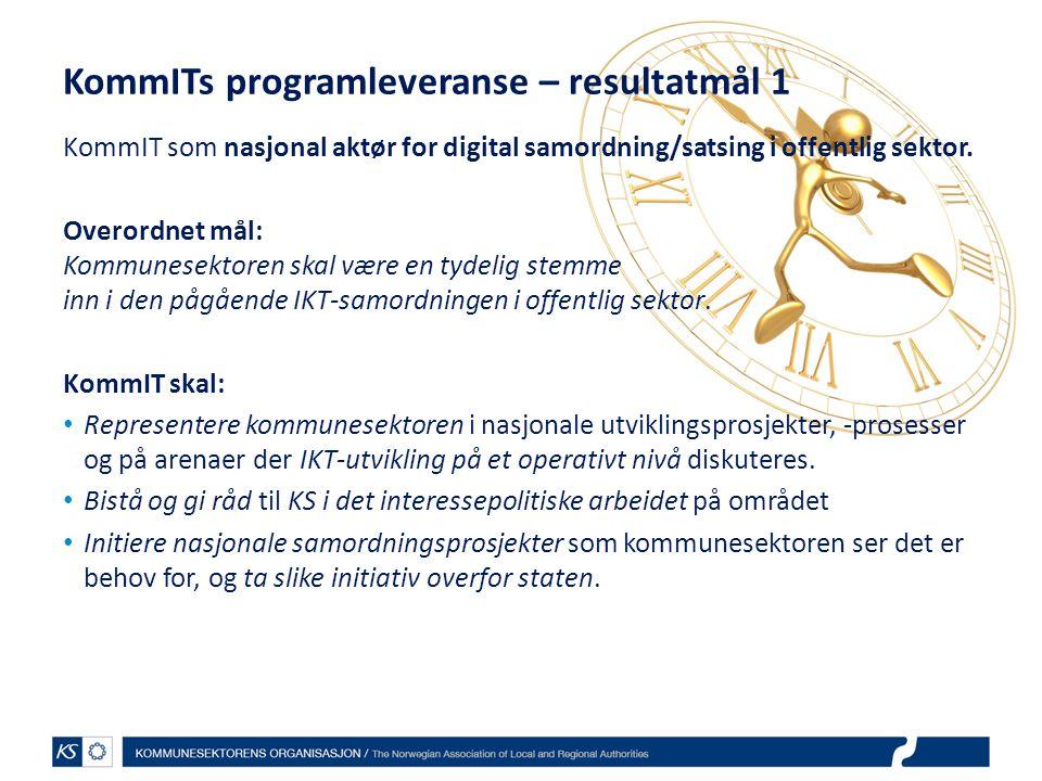 KommITs programleveranse – resultatmål 1 KommIT som nasjonal aktør for digital samordning/satsing i offentlig sektor. Overordnet mål: Kommunesektoren