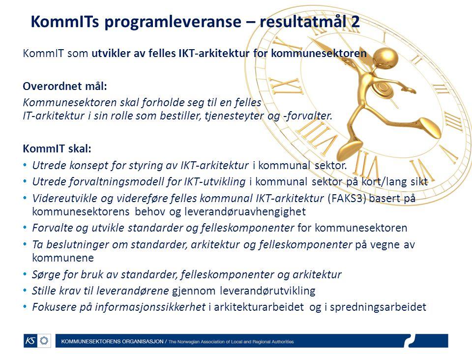 KommITs programleveranse – resultatmål 2 KommIT som utvikler av felles IKT-arkitektur for kommunesektoren Overordnet mål: Kommunesektoren skal forhold