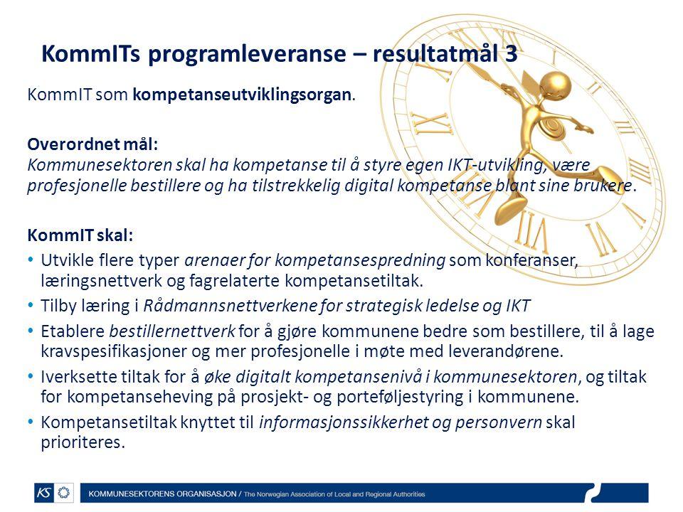 KommITs programleveranse – resultatmål 3 KommIT som kompetanseutviklingsorgan. Overordnet mål: Kommunesektoren skal ha kompetanse til å styre egen IKT