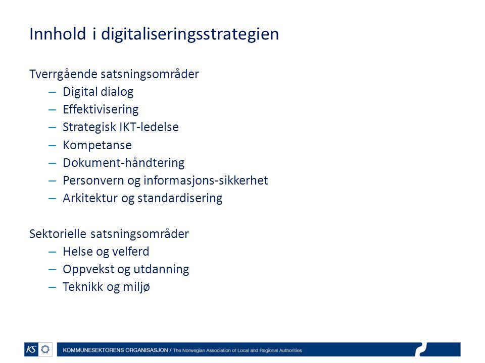 Innhold i digitaliseringsstrategien Tverrgående satsningsområder – Digital dialog – Effektivisering – Strategisk IKT-ledelse – Kompetanse – Dokument-h