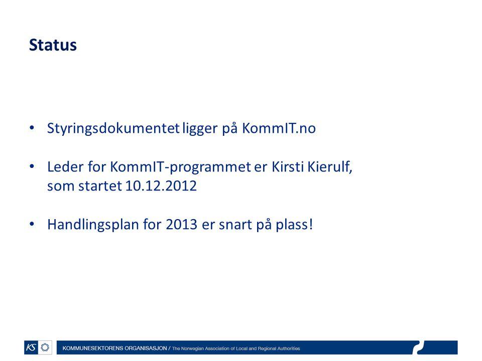 Status Styringsdokumentet ligger på KommIT.no Leder for KommIT-programmet er Kirsti Kierulf, som startet 10.12.2012 Handlingsplan for 2013 er snart på