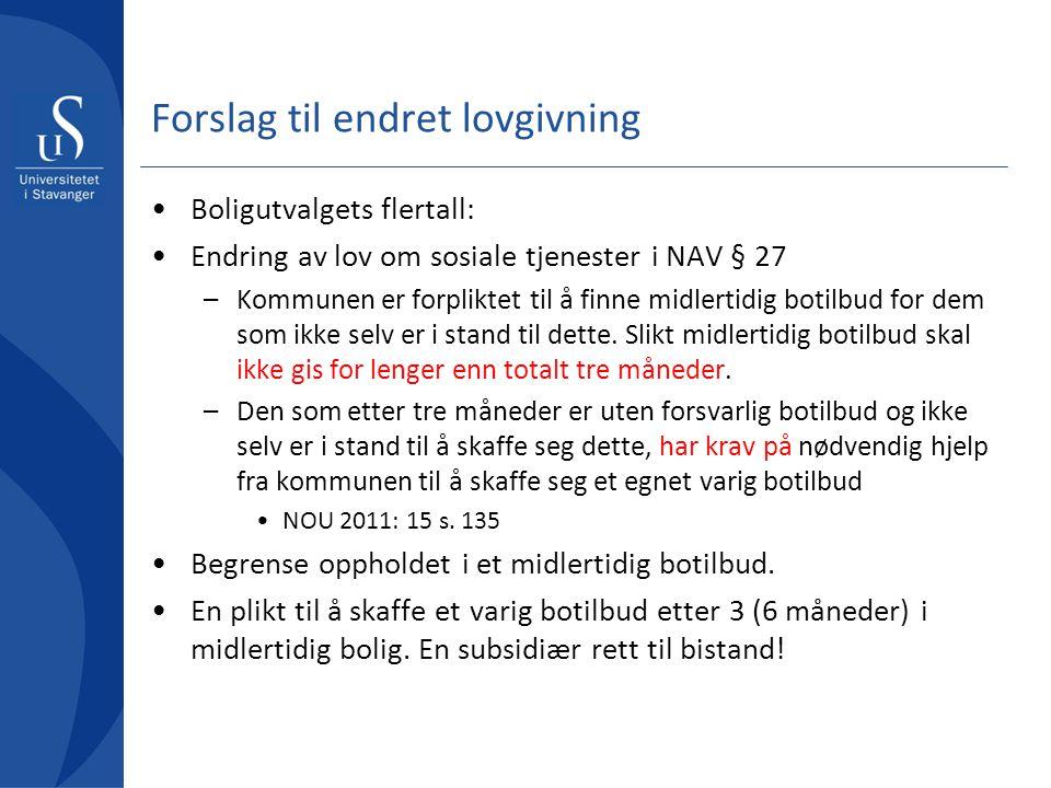 Forslag til endret lovgivning Boligutvalgets flertall: Endring av lov om sosiale tjenester i NAV § 27 –Kommunen er forpliktet til å finne midlertidig