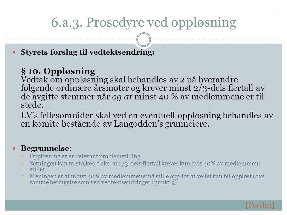 6.a.3. Prosedyre ved oppløsning Styrets forslag til vedtektsendring: § 10.