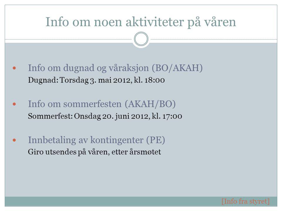 Info om noen aktiviteter på våren Info om dugnad og våraksjon (BO/AKAH) Dugnad: Torsdag 3.
