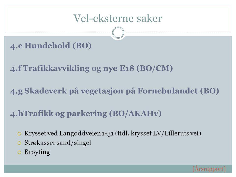 Vel-eksterne saker 4.e Hundehold (BO) 4.f Trafikkavvikling og nye E18 (BO/CM) 4.g Skadeverk på vegetasjon på Fornebulandet (BO) 4.hTrafikk og parkering (BO/AKAHv)  Krysset ved Langoddveien 1-31 (tidl.