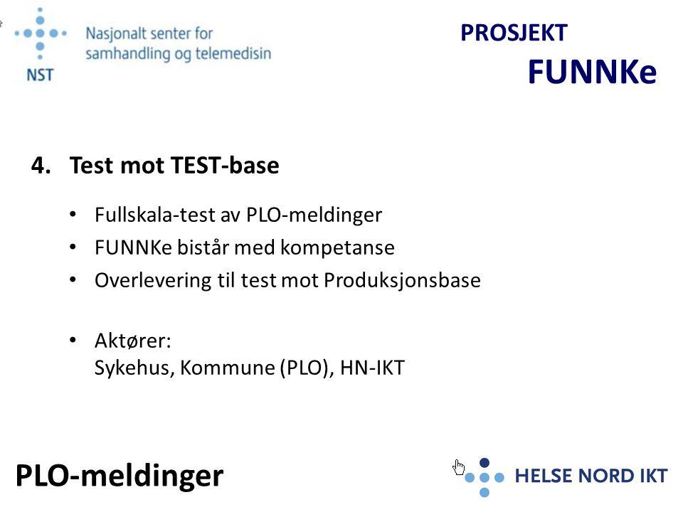 Opplæring avtales med Sykehus/FUNNKe og kan iverksettes parallelt med test mot TEST-basen PROSJEKT FUNNKe 5.
