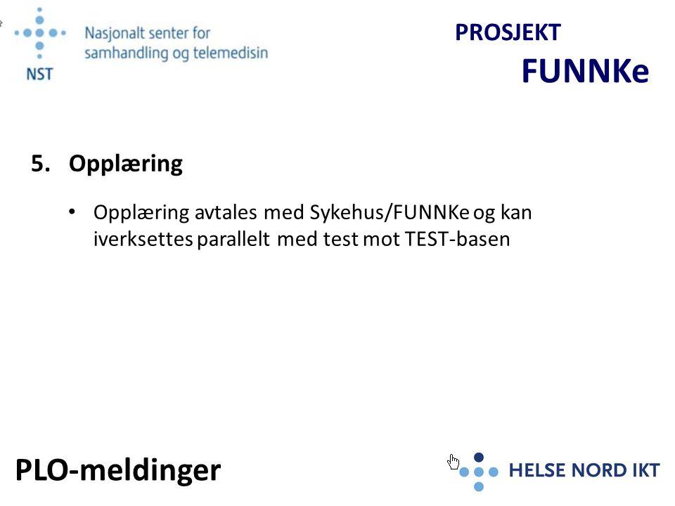 Begrenset test av PLO-meldinger FUNNKe bistår med kompetanse Overlevering til Produksjon Aktører: Sykehus, Kommune (PLO), Kommunal IKT, HN-IKT.