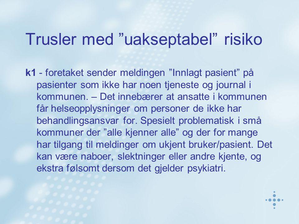 Trusler med uakseptabel risiko k1 - foretaket sender meldingen Innlagt pasient på pasienter som ikke har noen tjeneste og journal i kommunen.