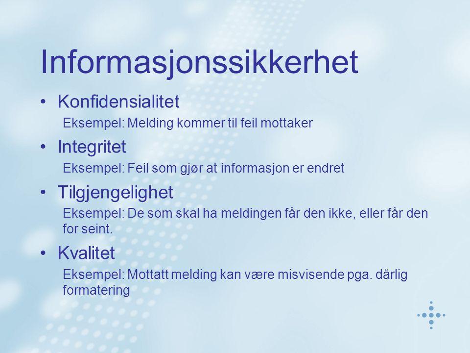 Informasjonssikkerhet Konfidensialitet Eksempel: Melding kommer til feil mottaker Integritet Eksempel: Feil som gjør at informasjon er endret Tilgjeng