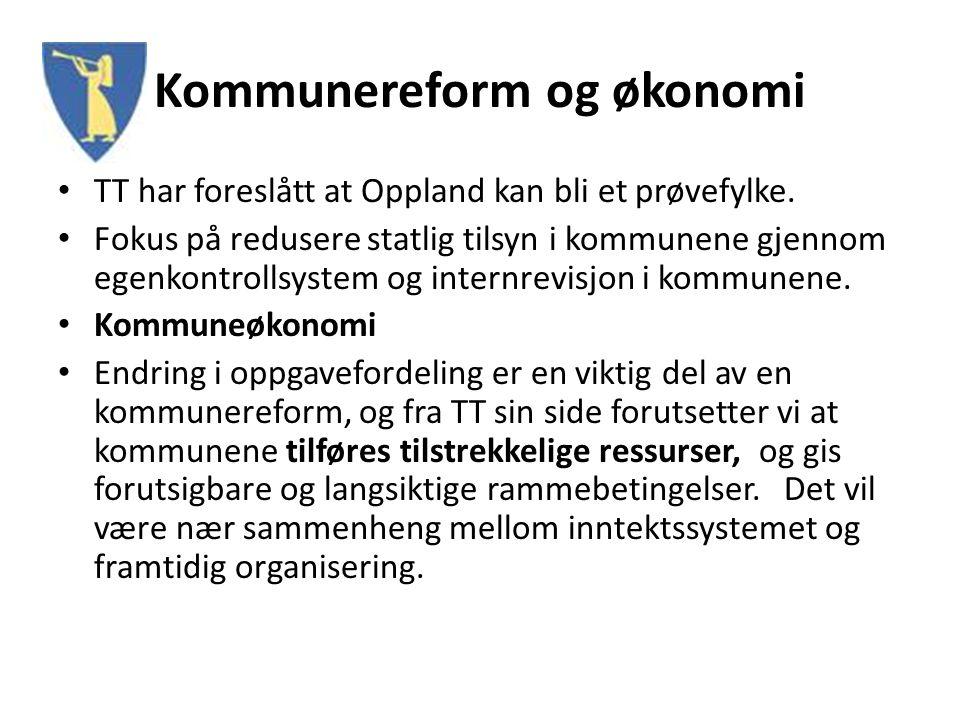 Kommunereform og økonomi TT har foreslått at Oppland kan bli et prøvefylke. Fokus på redusere statlig tilsyn i kommunene gjennom egenkontrollsystem og