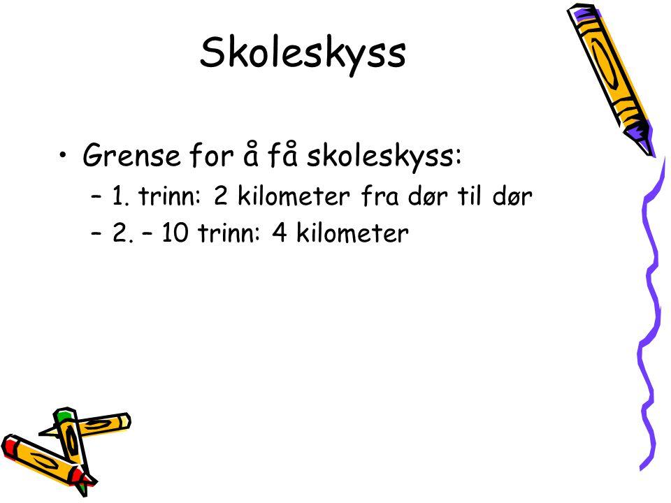 Skoleskyss Grense for å få skoleskyss: –1. trinn: 2 kilometer fra dør til dør –2. – 10 trinn: 4 kilometer