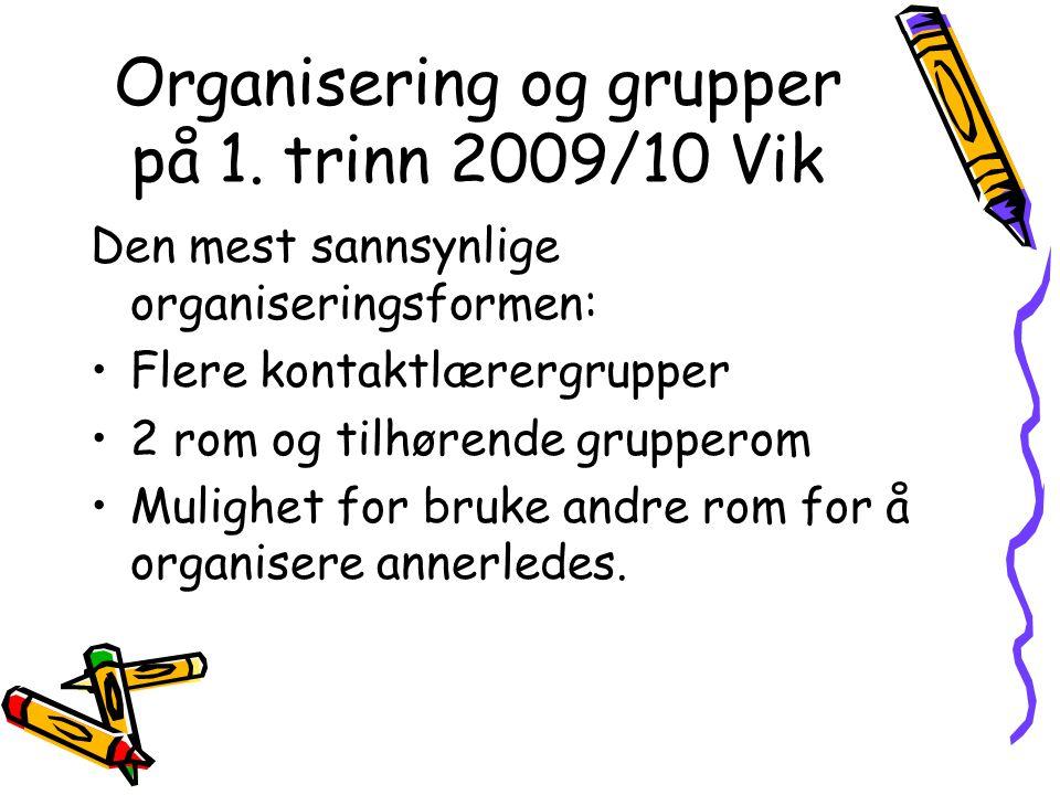 Organisering og grupper på 1. trinn 2009/10 Vik Den mest sannsynlige organiseringsformen: Flere kontaktlærergrupper 2 rom og tilhørende grupperom Muli