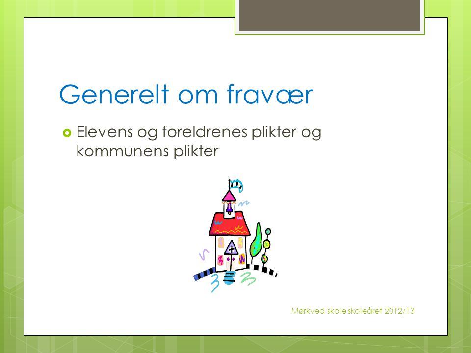 Generelt om fravær  Elevens og foreldrenes plikter og kommunens plikter Mørkved skole skoleåret 2012/13