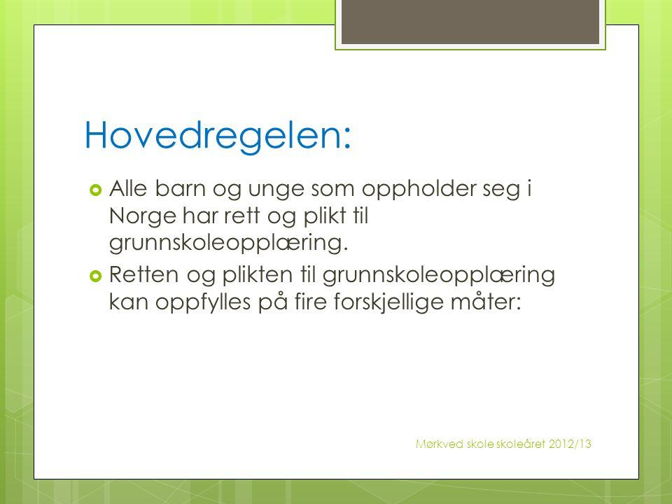 Hovedregelen:  Alle barn og unge som oppholder seg i Norge har rett og plikt til grunnskoleopplæring.  Retten og plikten til grunnskoleopplæring kan