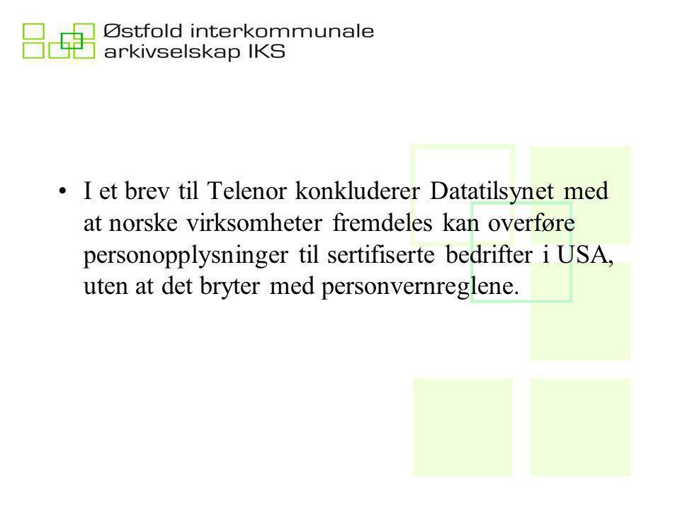 I et brev til Telenor konkluderer Datatilsynet med at norske virksomheter fremdeles kan overføre personopplysninger til sertifiserte bedrifter i USA, uten at det bryter med personvernreglene.