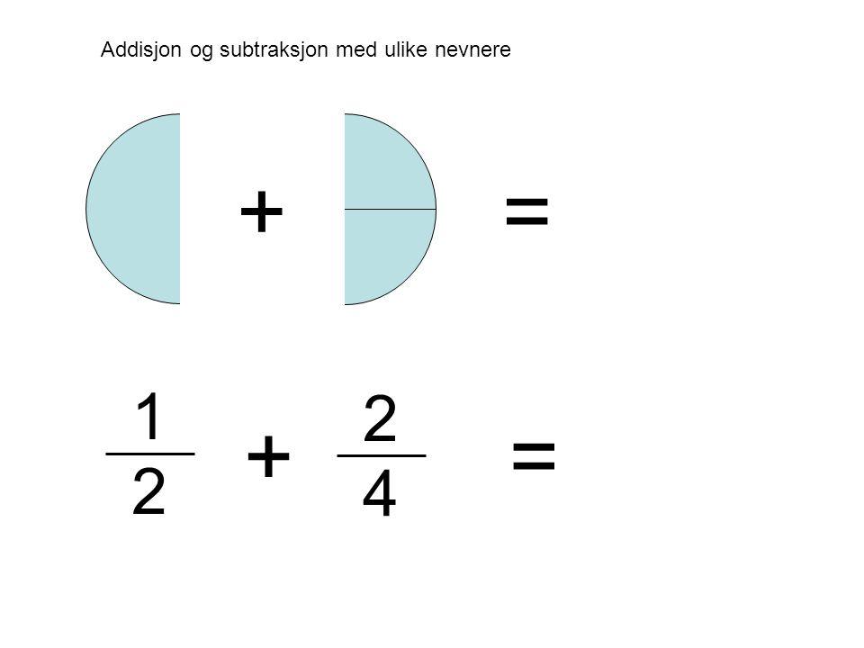 2 4 Addisjon og subtraksjon med ulike nevnere 1 2 + + = =