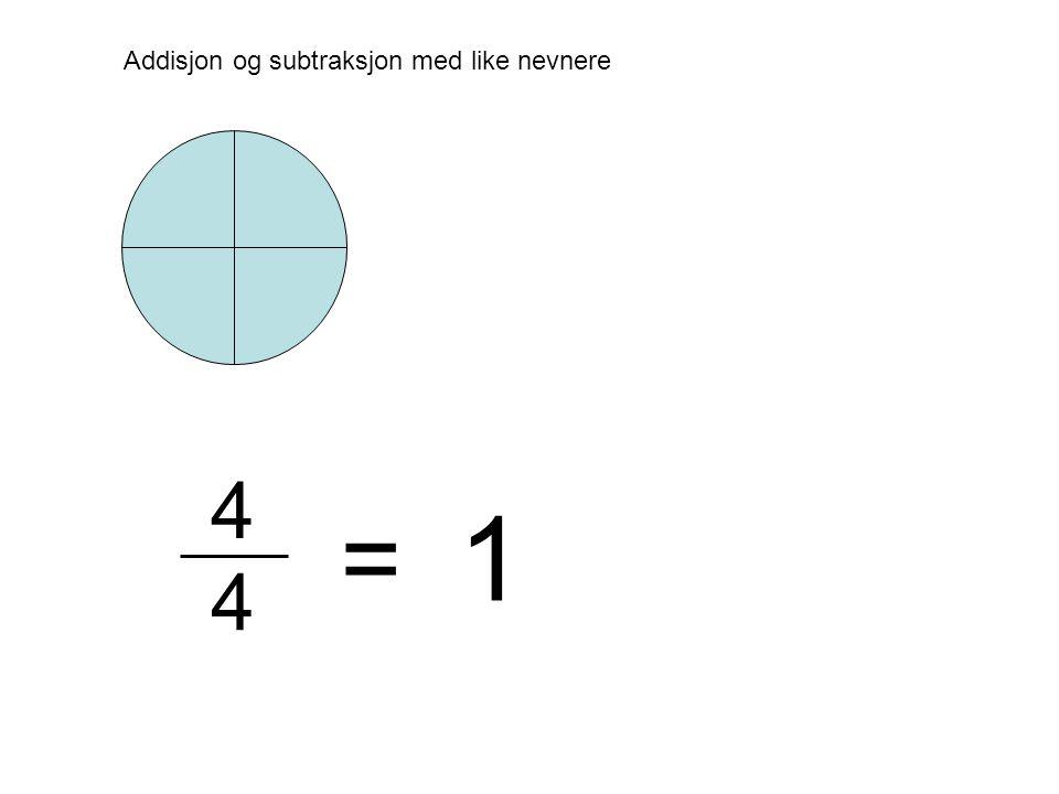 Addisjon og subtraksjon med like nevnere = 4 4 1