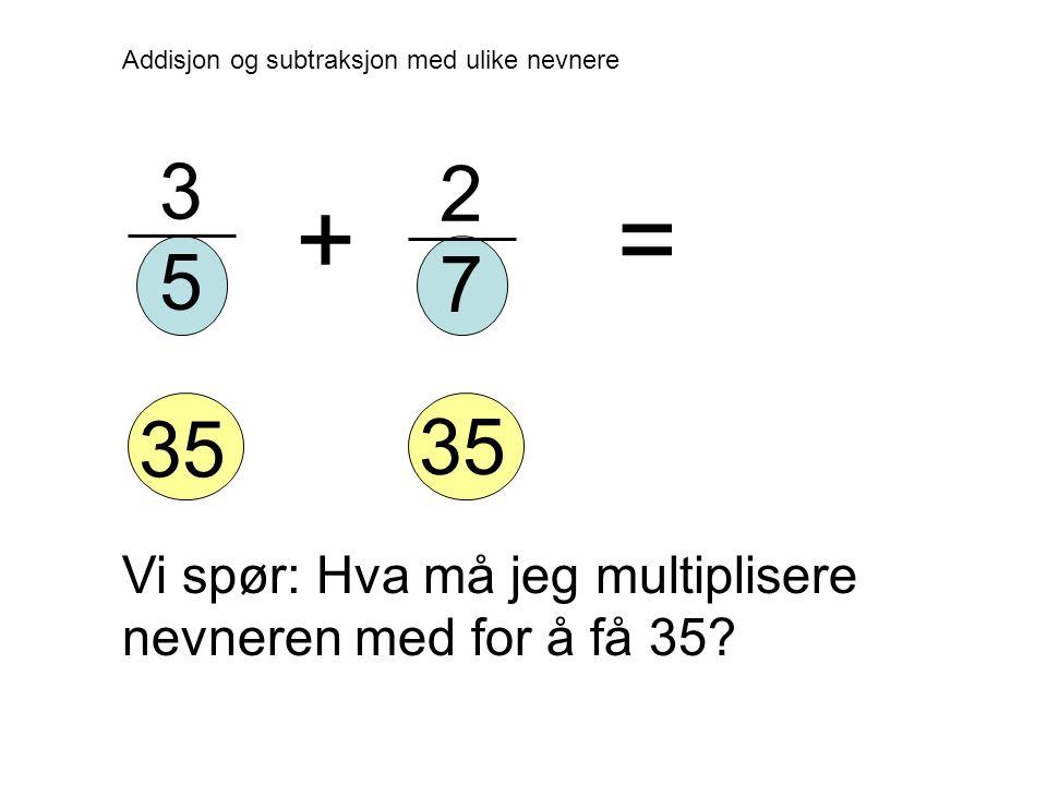 2 7 Addisjon og subtraksjon med ulike nevnere 3 5 += Vi spør: Hva må jeg multiplisere nevneren med for å få 35.