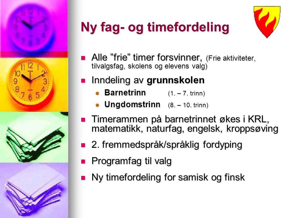 """Ny fag- og timefordeling Alle """"frie"""" timer forsvinner, (Frie aktiviteter, tilvalgsfag, skolens og elevens valg) Alle """"frie"""" timer forsvinner, (Frie ak"""