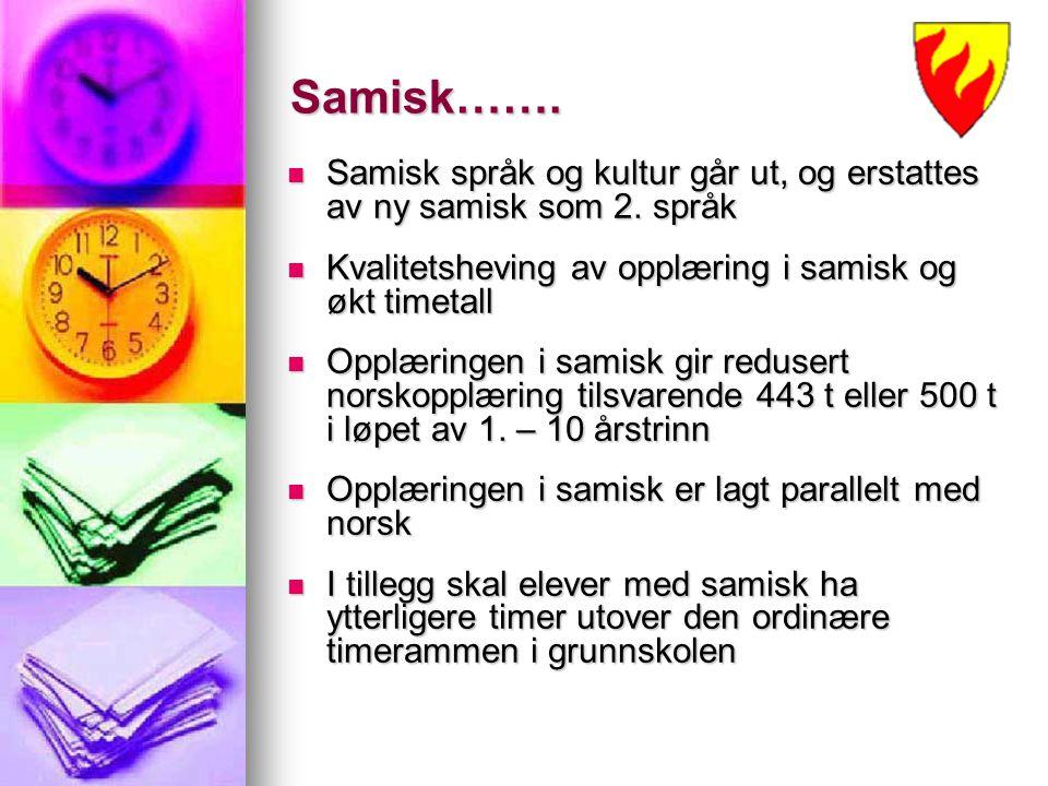 Samisk……. Samisk språk og kultur går ut, og erstattes av ny samisk som 2. språk Samisk språk og kultur går ut, og erstattes av ny samisk som 2. språk
