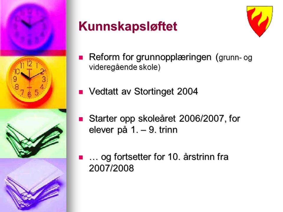 Kunnskapsløftet Reform for grunnopplæringen ( grunn- og videregående skole) Reform for grunnopplæringen ( grunn- og videregående skole) Vedtatt av Sto