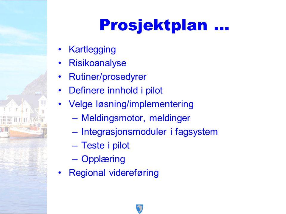 Prosjektplan … Kartlegging Risikoanalyse Rutiner/prosedyrer Definere innhold i pilot Velge løsning/implementering –Meldingsmotor, meldinger –Integrasj