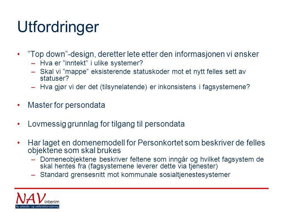 Utfordringer Top down -design, deretter lete etter den informasjonen vi ønsker –Hva er inntekt i ulike systemer.