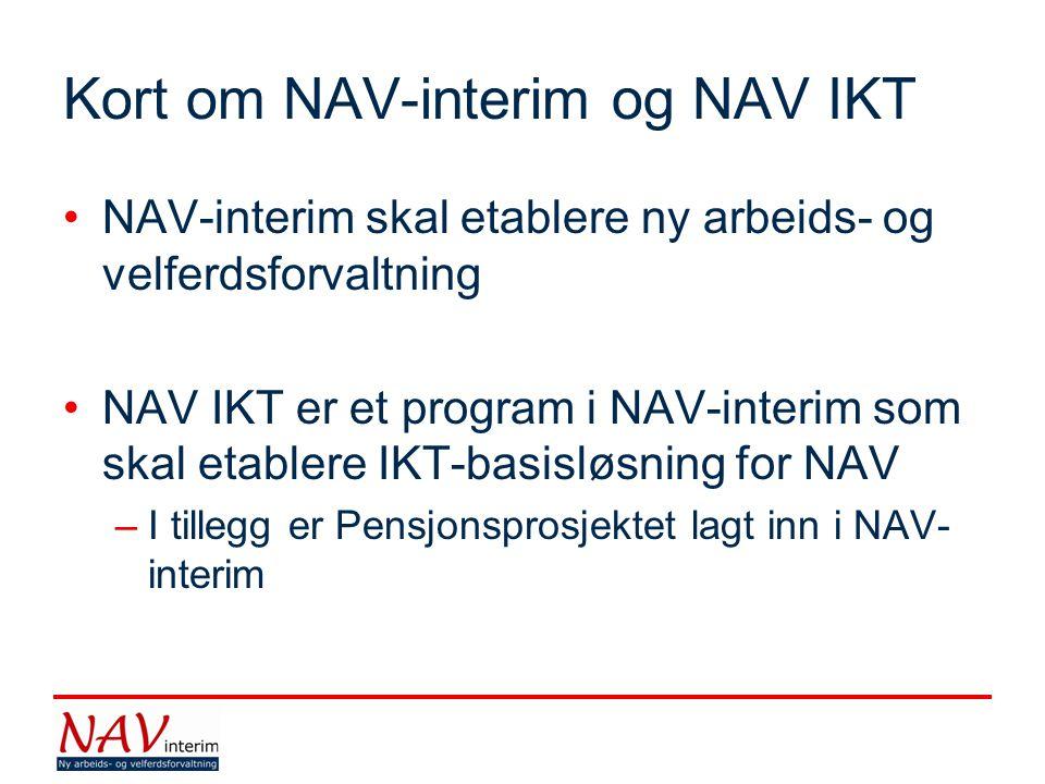 Kort om NAV-interim og NAV IKT NAV-interim skal etablere ny arbeids- og velferdsforvaltning NAV IKT er et program i NAV-interim som skal etablere IKT-basisløsning for NAV –I tillegg er Pensjonsprosjektet lagt inn i NAV- interim