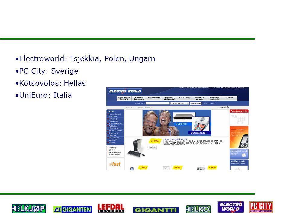 Electroworld: Tsjekkia, Polen, Ungarn PC City: Sverige Kotsovolos: Hellas UniEuro: Italia