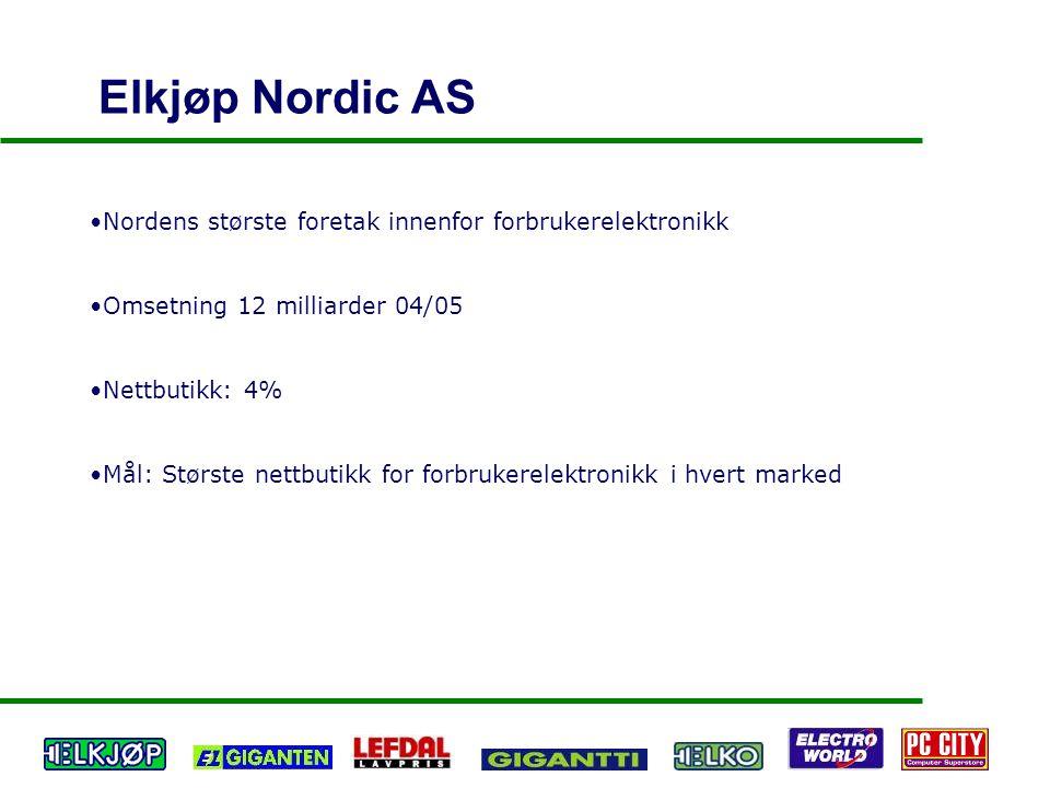 Elkjøp Nordic AS Nordens største foretak innenfor forbrukerelektronikk Omsetning 12 milliarder 04/05 Nettbutikk: 4% Mål: Største nettbutikk for forbru