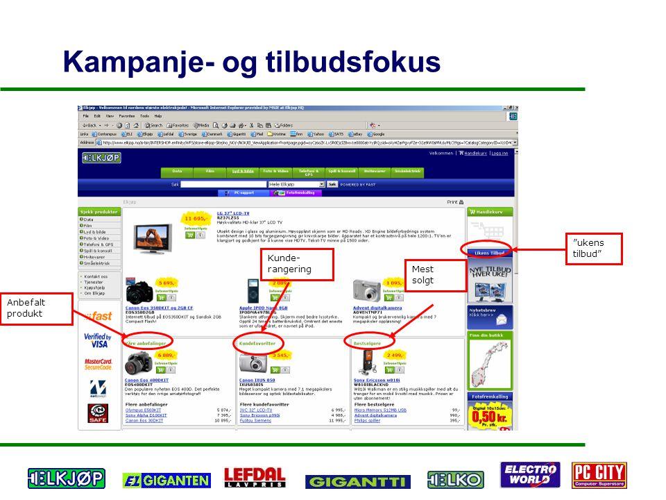 "Kampanje- og tilbudsfokus ""ukens tilbud"" Anbefalt produkt Kunde- rangering Mest solgt"