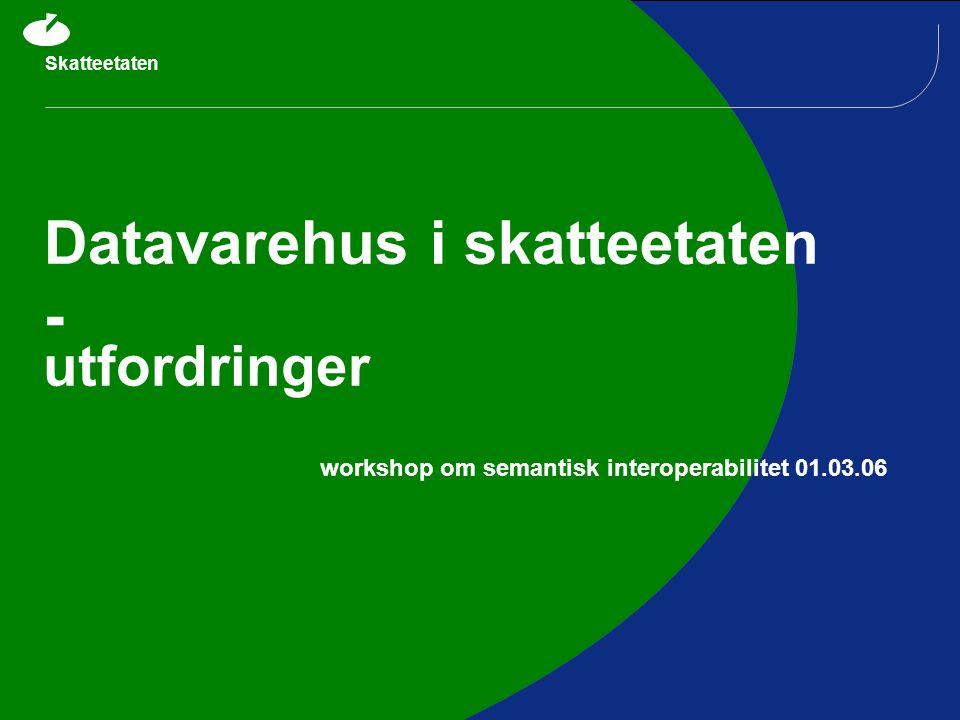 Skatteetaten Datavarehus i skatteetaten - utfordringer workshop om semantisk interoperabilitet 01.03.06