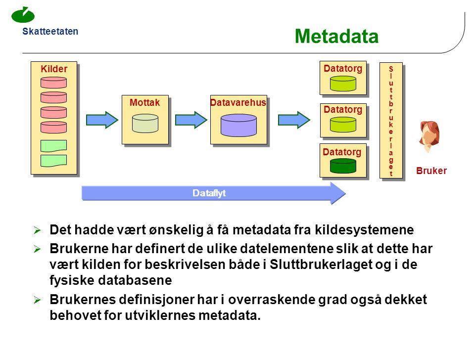 Skatteetaten Kilder MottakDatavarehus Datatorg Dataflyt  Det hadde vært ønskelig å få metadata fra kildesystemene  Brukerne har definert de ulike da
