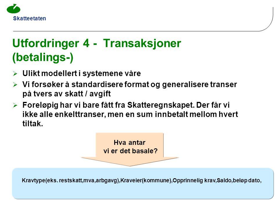 Skatteetaten Utfordringer 4 - Transaksjoner (betalings-)  Ulikt modellert i systemene våre  Vi forsøker å standardisere format og generalisere trans