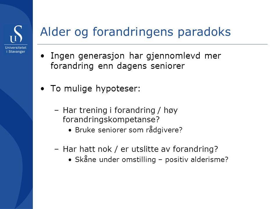 Alder og forandringens paradoks Ingen generasjon har gjennomlevd mer forandring enn dagens seniorer To mulige hypoteser: –Har trening i forandring / h